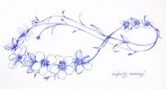 "draw flowers Rosary Drawing With Ballpoint Pen - One of favorite drawing tools is the ballpoint pen. Here are two examples of this technique from my sketchbook. ""Rosary"" is scanned directly and unaltered. ""Forgetmenot"" has been reversed Dad Tattoos, Sister Tattoos, Wrist Tattoos, Foot Tattoos, Future Tattoos, Flower Tattoos, Body Art Tattoos, Small Tattoos, Tattoo Thigh"