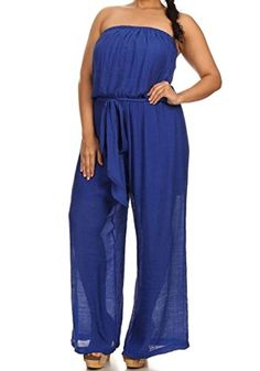 ee2401698056 curvyluv.com Woman s Plus Size Strapless Jumpsuit Long Pants Elastic Waist  Soft Wide Leg