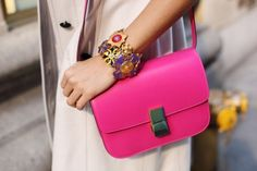 shocking pink accessory = good idea
