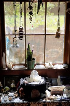 Craft of the Witch crystal window decoration.love it so much ♥ / Sacred Spaces ♥ crystal window decoration.love it so much ♥ / Sacred Spaces ♥ Magick, Witchcraft, Meditation Rooms, Zen Meditation, Meditation Corner, Crystal Decor, Crystal Room, Witch House, Witch Aesthetic