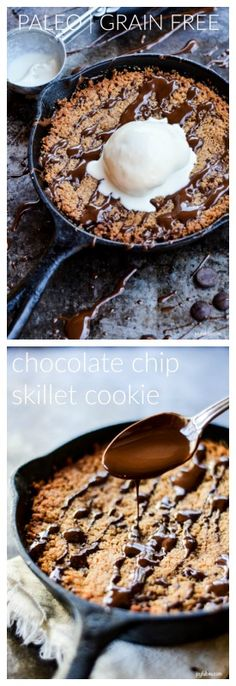 Crisp on the edges and gooey in the center for this paleo skillet cookie loaded with chocolate and vegan vanilla ice cream. A dreamy and rich dessert!