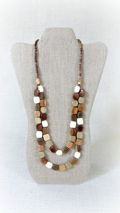 Multicolor  wooden necklace  Two strands  by TheWoodenTreasures