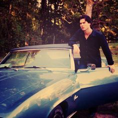 Damon Salvatore with his Camaro Convertable!! Sweet!