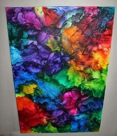 Melted crayon art... but I can see using heavy texture and dabbing vibrant colored paint with a shower pouf or natural sponge.