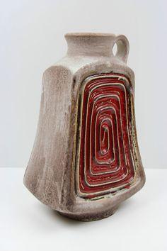 Mid Century Vase * Überlacker * Ü-Keramik * Design Ceramic Vintage Vases, Vintage Pottery, Keramik Vase, Clay Vase, Pottery Vase, Vases Decor, Lava, Decorative Items, Flower Arrangements