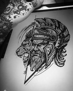 Images of lion warrior tattoo sketch - Life Tattoos, Body Art Tattoos, New Tattoos, Sleeve Tattoos, Tattoo Design Drawings, Tattoo Sketches, Tattoo Designs Men, Cool Tattoos For Guys, Unique Tattoos