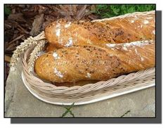 kváskové kořenové bagety Pan Bread, Ciabatta, Korn, Food And Drink, Menu, Cookies, Baking, Breakfast, Breads