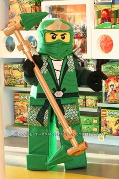 Coolest Lego Ninjago Homemade Halloween Costume ... Cardboard body and foam legs covered with fabric