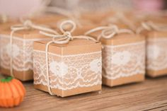 Favor Boxes wrapped in lace and tied with twine from a Girly Little Farm Birthday Party via Kara's Party Ideas | KarasPartyIdeas.com (28)