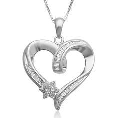 "1/4 CT TW Sim Diamond Sterling Silver Heart & Flower Pendant 18"" Chain Necklace #jewelsbyeanda #HeartFlowerPendant #ValentinesDay"