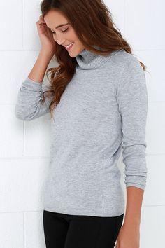 Comin' Up Cozy Grey Turtleneck Sweater at Lulus.com!