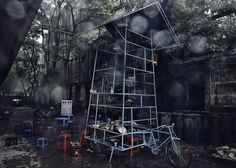 Ta đi Ôtô mini-skyscraper on a tricycle by Bureau A. Swiss architecture firm Bureau A created a seven-storey mobile performance space and street kitchen, mounted it on a tricycle and rode it round the streets of Hanoi in Vietnam. Tadioto