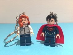 A set of 2 Lego® minifigure keychains! His and hers Superman and Lois Lane keyrings. A perfect gift this Valentines Day! A perfect gift for a