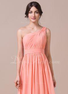 A-Lijn/Prinses Een-Schouder Vloer lengte De Chiffon Bruidsmeisjes Jurk met Roes (007057740) - DressFirst