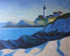 "oil on canvas ""afternoon light"" painting of Portland Head Light, Cape Elizabeth, Maine 32"" X 40"""