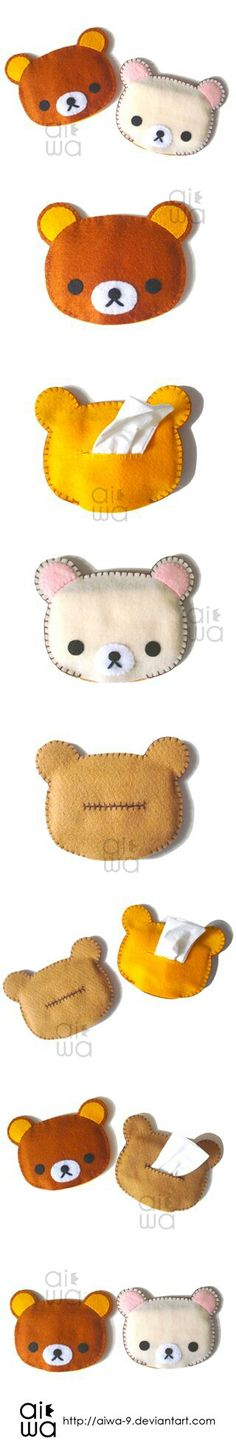 How to make a Rilkkuma tissue pouch.