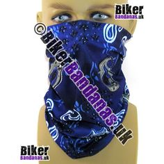 Royal Blue Paisley Flower Multifunctional Headwear / Neck Tube Bandana.  One of over 400 Styles for Men and Women