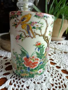 Asian Vintage Vase Yellow Blue winged Birds and  by ThePearlSwan, $14.59