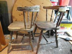 Wooden retro round back chairs, No reserve | eBay