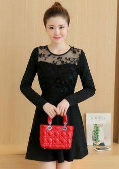 Buy Appliques Mesh Neck Fit & Flare Dress | mysallyfashion.com Malaysia