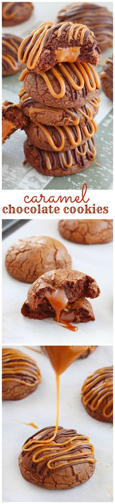 Irresistible rich chocolate cookies stuffed with gooey caramels and finished with a drizzle of caramel and melted chocolate. Deliciousness in every bite!: Irresistible rich chocolate cookies stuffed with gooey caramels and finished with a drizzle of caramel and melted chocolate. Deliciousness in every bite!