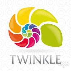 Colorful and vibrant logo created by a growing spiral of colors forming the shell of a snail. Some key: rainbow, development, expansion, evolution, growth spiral, fibonacci, color spectrum. Modern, striking, catchy.