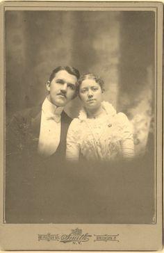 cabinet photo Wedding Young Couple Man Woman Victorian Fashion Brooklyn NY
