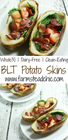 "These BLT Whole30 Potato Skins are slathered with ghee and stuffed with spinach, tomato and bacon. Crispy and ""buttery,"" they are the perfect Whole30 treat!"