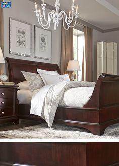 If you've dreamed of updating your bedroom the Whitmore collection is a wonderful choice. The beautiful sleigh bed features graceful curves and timeless styling. - March 09 2019 at Dark Wood Bedroom Furniture, Bedroom Furniture Makeover, Black Furniture, Furniture Chairs, Furniture Stores, Cheap Furniture, Bathroom Furniture, Luxury Furniture, Furniture Ideas