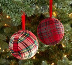 Plaid Fabric Ball Ornament | Pottery Barn