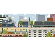 Downtown Arts District - Edmonton Landmark art print, home decor  Edmonton landmark art print with a unique Mid-Century / Folk Art take. A perfect Edmonton gift idea for any city lover or that poor soul that is leaving town. Purchase on www.snowalligator.com  Illustration by local artist Jason Blower  #yeg #yegart #yegwallart #wallart #EdmontonArt #edmontongift #yeggift #snow_aligator #charmingart #cuteart #midCentury #Folkart #cuteart #charmingart #edmontonartist