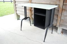 Vintage Industrial Metal School Desk Computer by PickersWarehouse -- great etsy seller. bought this for gaga and it's perfect.