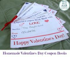 Homemade Valentine's Day Gifts: Printable Valentine's Day Coupon Books http://moneysavvymichelle.com/homemade-valentines-day-gifts-printable-valentines-day-coupon-books/  #ValentinesDay