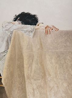 Avigdor Arikha, (1929-2010) - 1977 Anne Leaning on a Table (Los Angeles County Museum of Art, USA)    Oil on canvas; 130.2 x 97 cm.