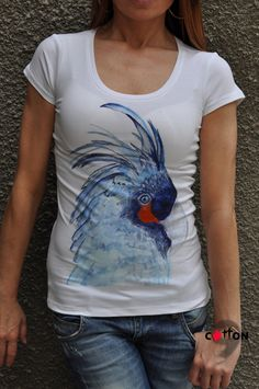 New Adults Cotton Parrot Tshirt / Organic Printed by Cotton9