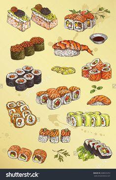 手绘的插图的寿司-食品及饮料,符号/标志-海洛创意(HelloRF)-Shutterstock中国独家合作伙伴-正版素材在线交易平台-站酷旗下品牌