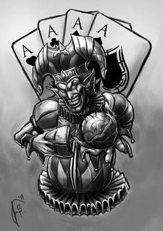 Résultat d'images pour Evil Jester Evil Clown Tattoos, Pirate Skull Tattoos, Evil Clowns, Scary Clowns, Tattoo Sketches, Tattoo Drawings, Joker Card Tattoo, Jester Tattoo, Evil Jester