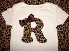 Leopard Print Personalized Initial ONESIE by SweetpeasBumblebees, $20.00