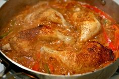Easy Skillet Braised Chicken with Peppers and Paprika
