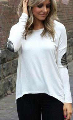 White Plain Patchwork Glitter Irregular Round Neck Long Sleeve T-Shirt - Tops this webdite is wonderful