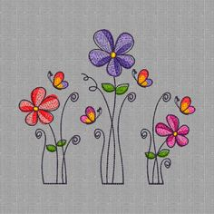 Art Drawings For Kids, Doodle Drawings, Doodle Art, Flower Embroidery Designs, Machine Embroidery Designs, Embroidery Patterns, Free Motion Embroidery, Hand Embroidery, Floral Embroidery