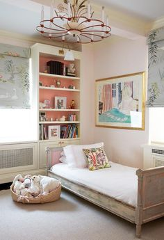Distressed paint job on bed / accent color behind shelving