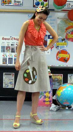 palette skirt and hair clip>>I love it, cutest art teacher outfit :)