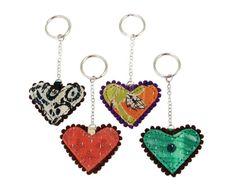 Kantha Heart Keychain