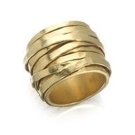 Gold wide band ring with textured pattern