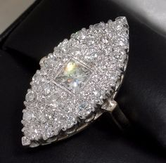 HUGE & Glorious 1930s Marquise 2.13ct Diamond Cluster Ring