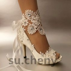 """3"""" 4"""" heel white ivory satin lace ribbon open toe Wedding shoes bride size 5-9.5 