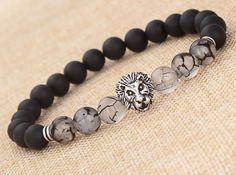 """MEN'S BLACK MATTE AGATE SILVER LION HEAD BEADS BRACELET 7.5""""/8MM BEADS in Jewelry & Watches, Fashion Jewelry, Bracelets   eBay"""