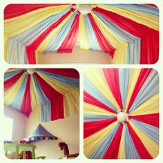Circus playroom ! With dollar store table cloths