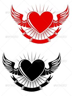 Buy Retro Heart Tattoo by VectorTradition on GraphicRiver. Retro heart with wings for tattoo design. Editable (you can use any vector program) and JPEG (can edit in any gr. Love Heart Tattoo, Vintage Tattoo Design, Heart Stencil, Retro Tattoos, Love Logo, Hummingbird Tattoo, Heart With Wings, Free Stencils, Wedding Labels